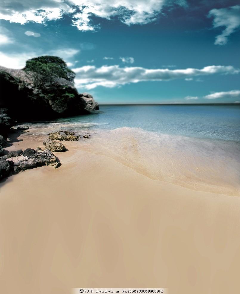 海边的礁石 大海 海边 沙滩 潮汐 石头 礁石 岩石 蓝天 白云 风景建筑