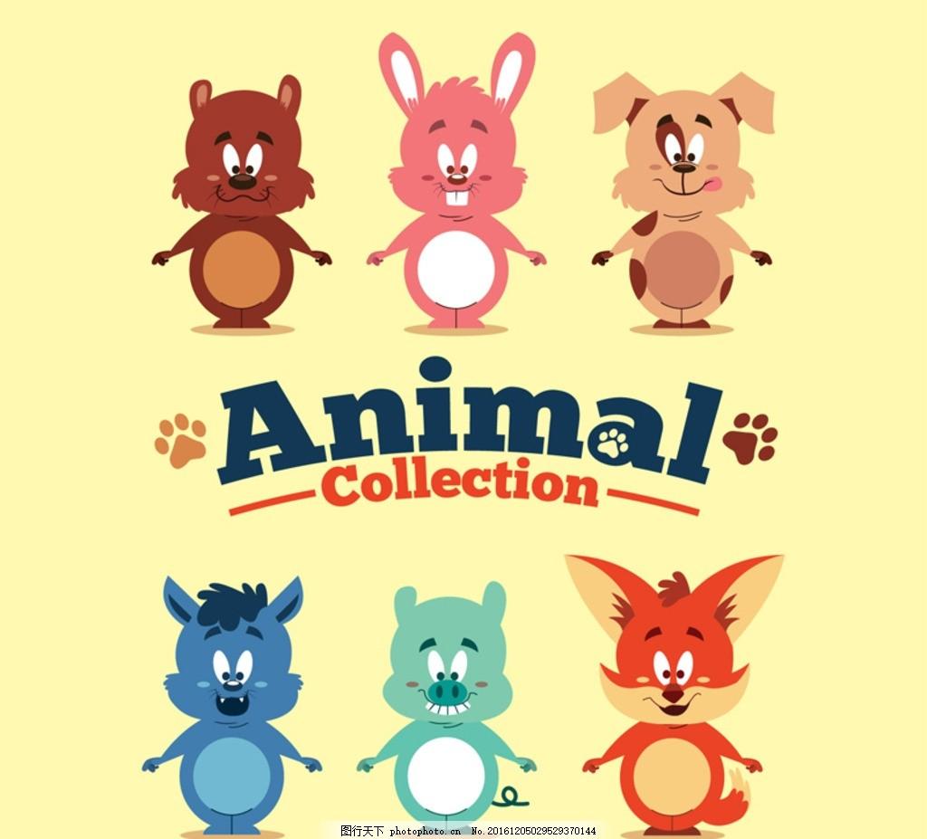 可爱动物 卡片 方形 卡通 平面素材