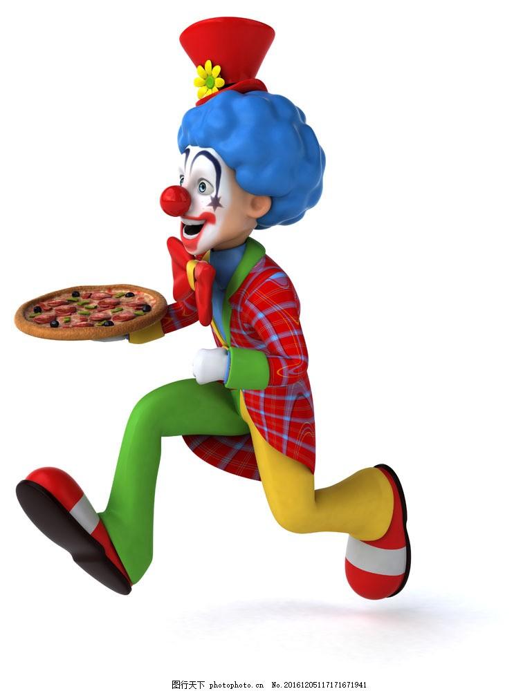 端着披萨的卡通小丑图片