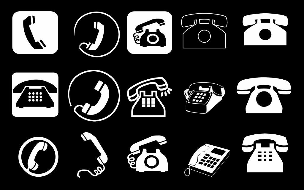 电话图标 电话 手机 座机 图标 黑白 多元素psd