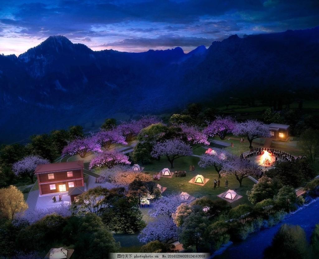 生态露营效果图 露营夜景图 乡村旅游 鸟瞰图 规划图 藏式鸟瞰