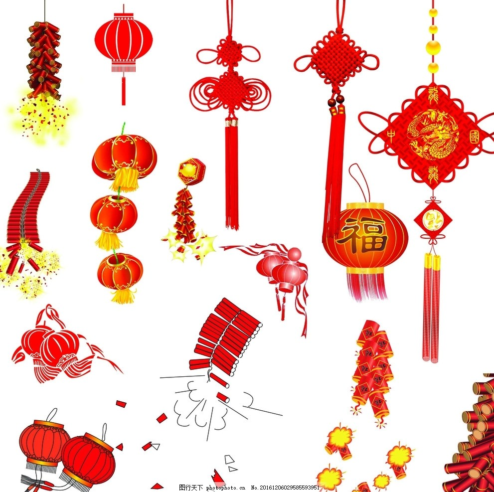 过年 喜庆 福灯笼 春节灯笼 新年灯笼 中国结元素 中国结 平安结 福结