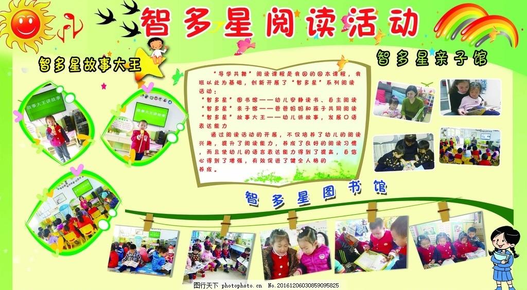 幼儿园展板 智多星 阅读 活动 背景 彩虹 家燕 太阳 照片边框