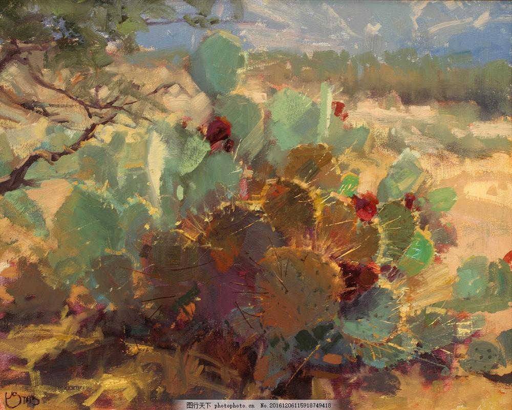 仙人掌风景油画图片