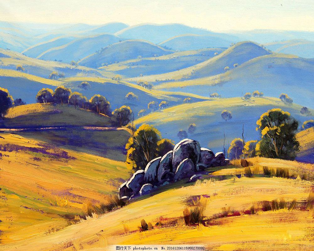 油画草原风景图片