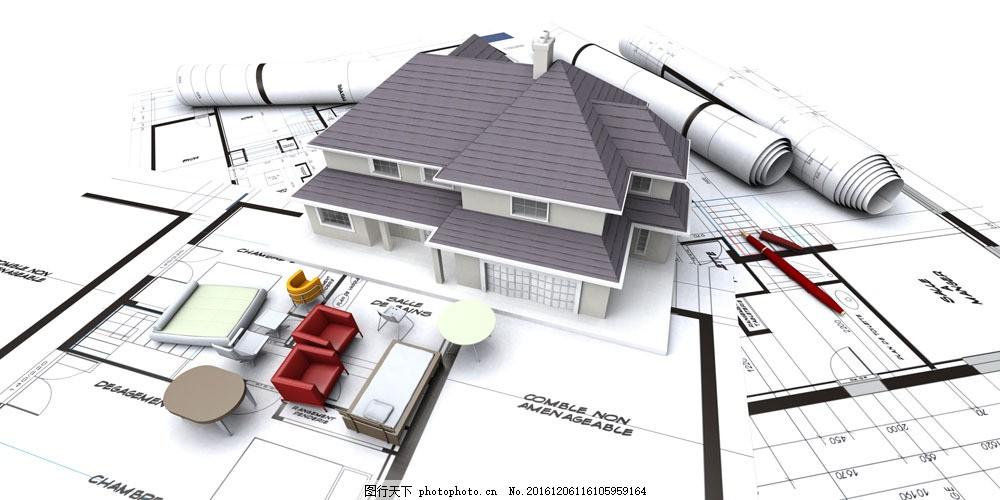 建筑设计图与房屋模型 建筑设计图与房屋模型图片素材 图纸 建筑模型