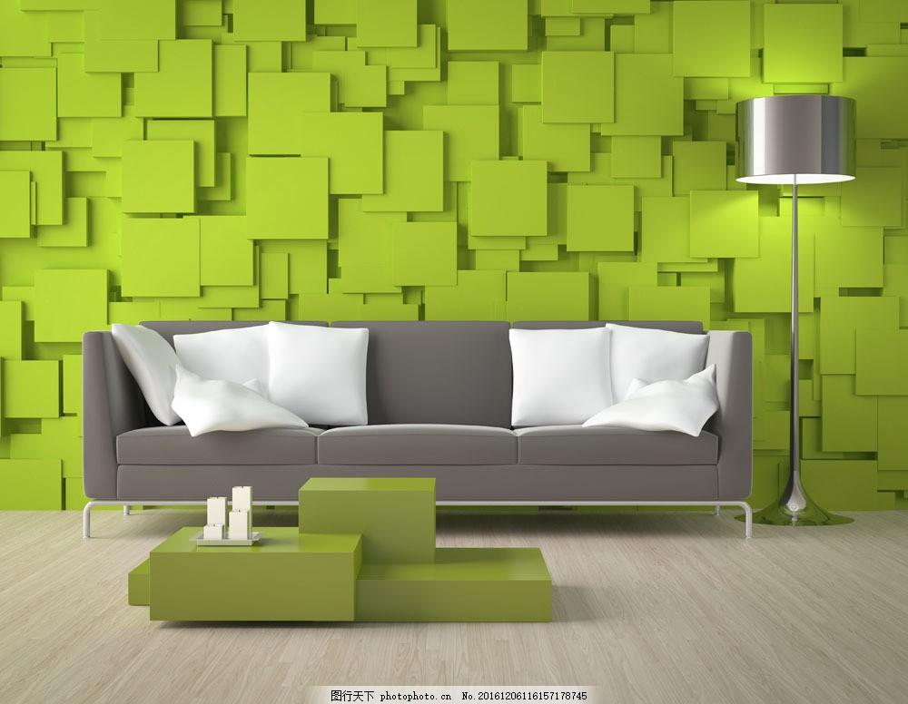 绿色时尚客厅效果图 绿色时尚客厅效果图图片素材 沙发 抱枕 时尚家居