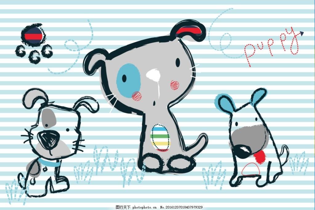 卡通小狗背景 动画 动漫 手绘 少儿 花纹 图案 英文 字母 高清