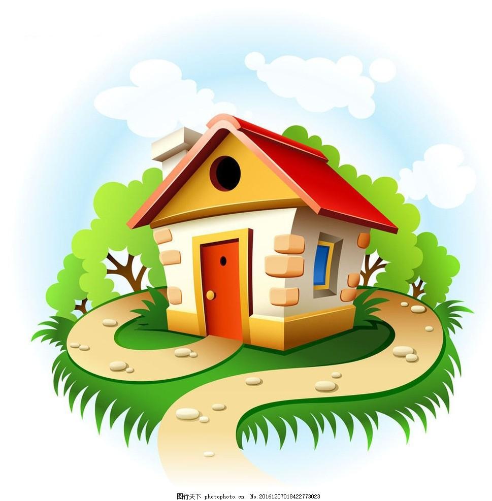卡通手绘风景 房屋 树木 蓝天
