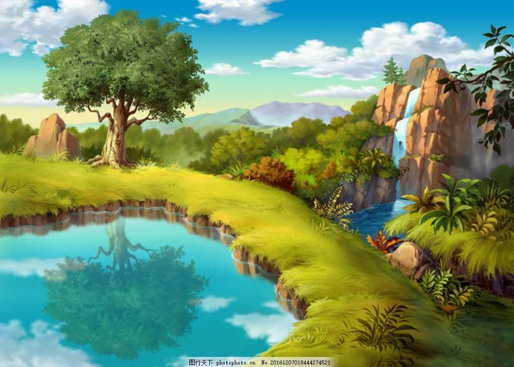 卡通手绘 风景海报 池塘 蓝天