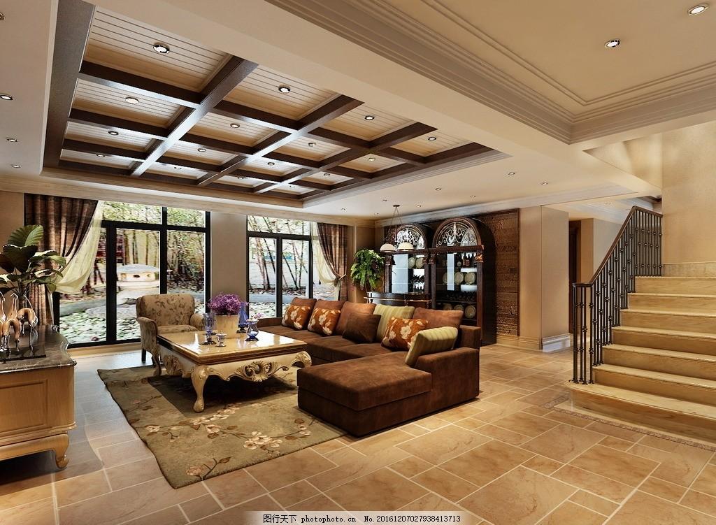 别墅客厅效果图 室内设计 装饰 装修 家装      别墅        设计