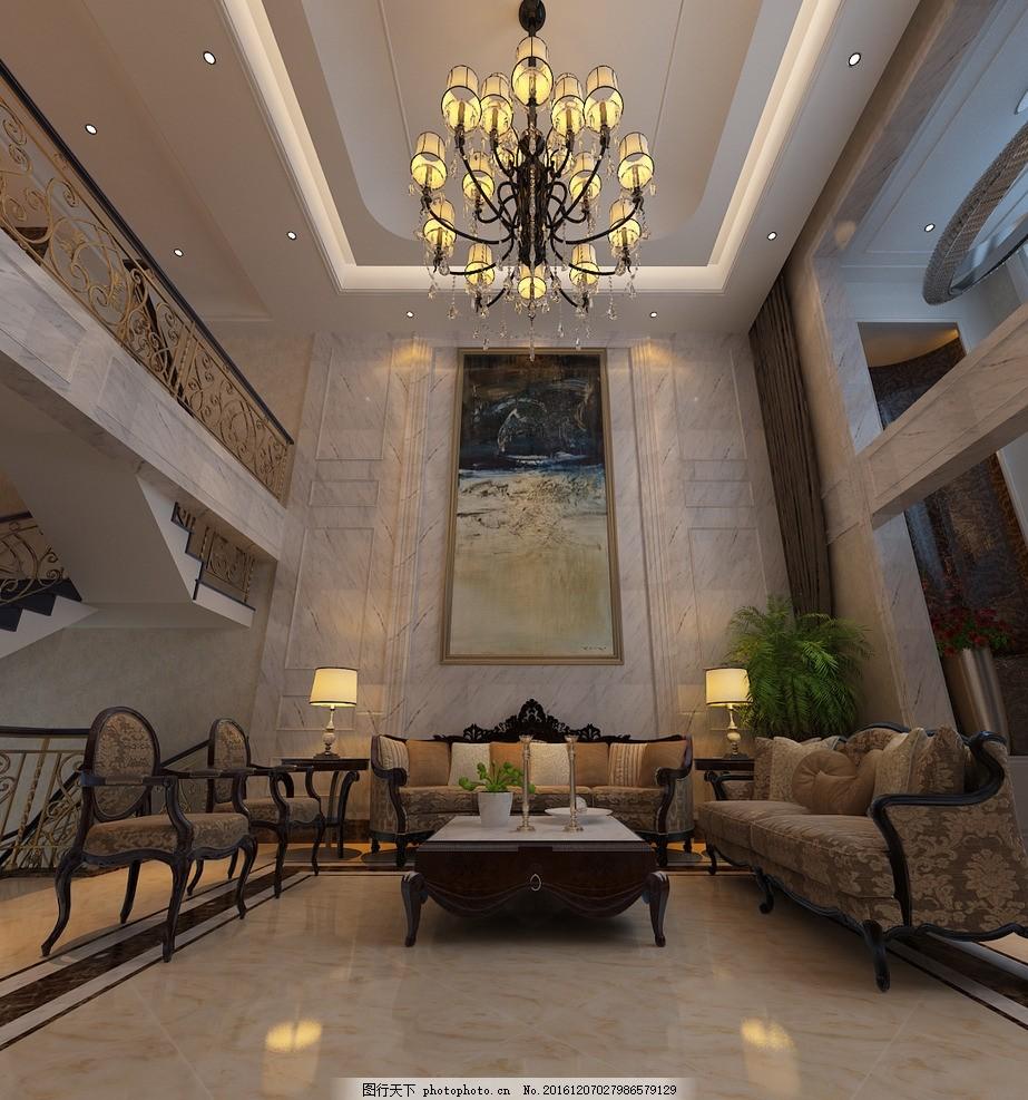 别墅洋房客厅效果图 装饰 装修 豪宅 室内设计效果图未分类