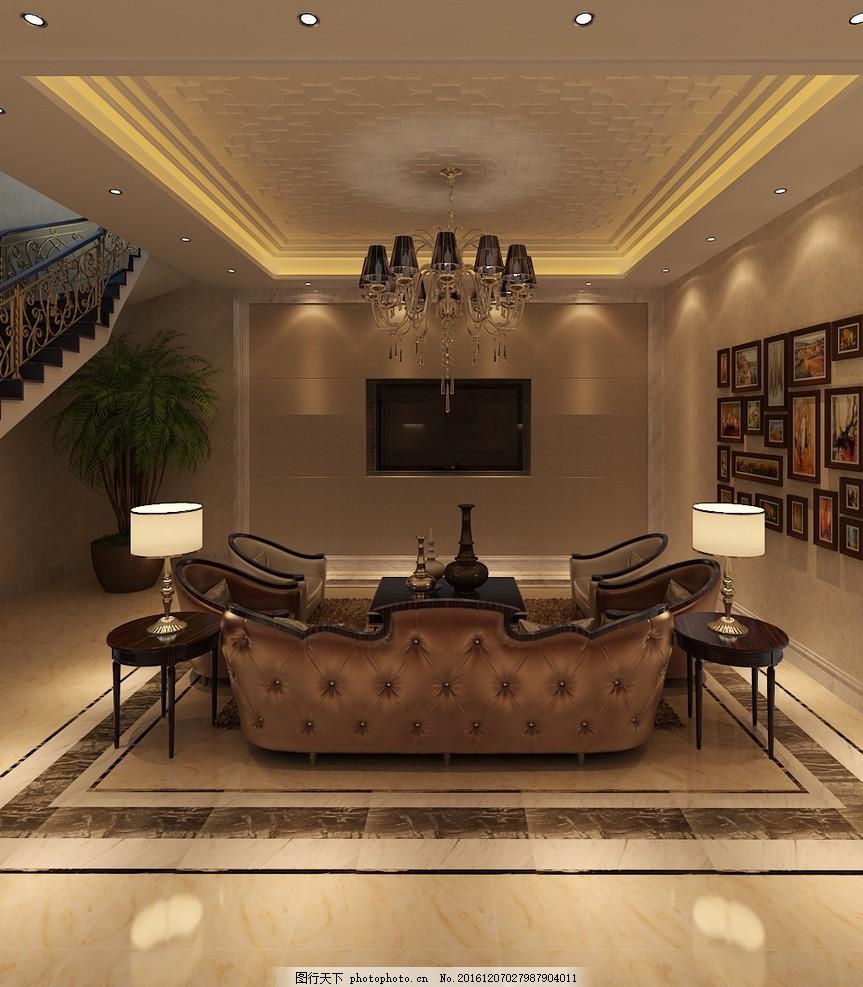 地下室会客厅效果图 室内设计 装饰 装修 家装 别墅 豪宅 洋房 地下室