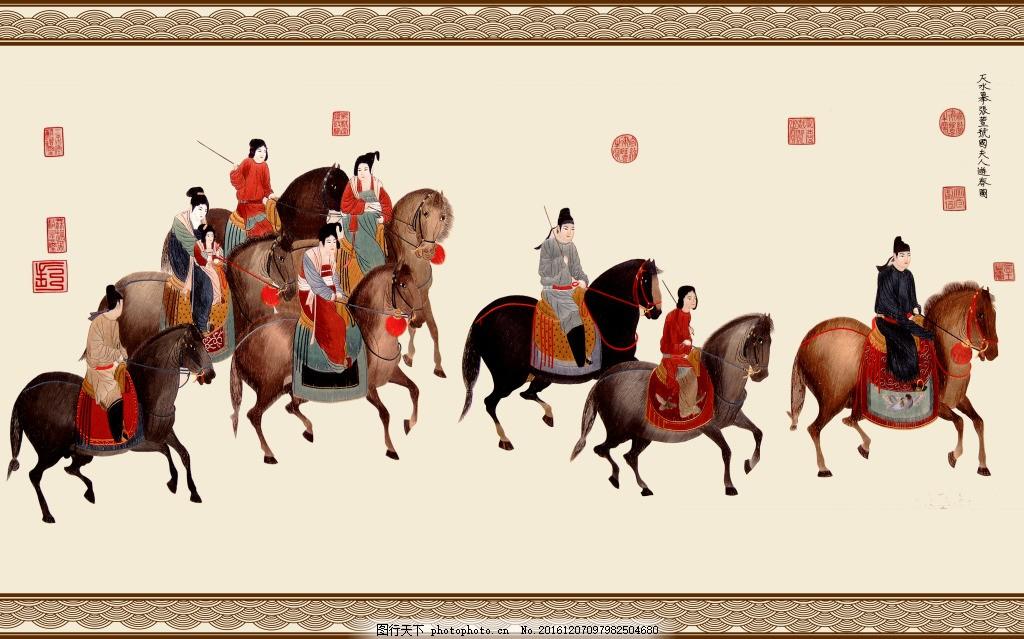 古代人物骑马装饰画