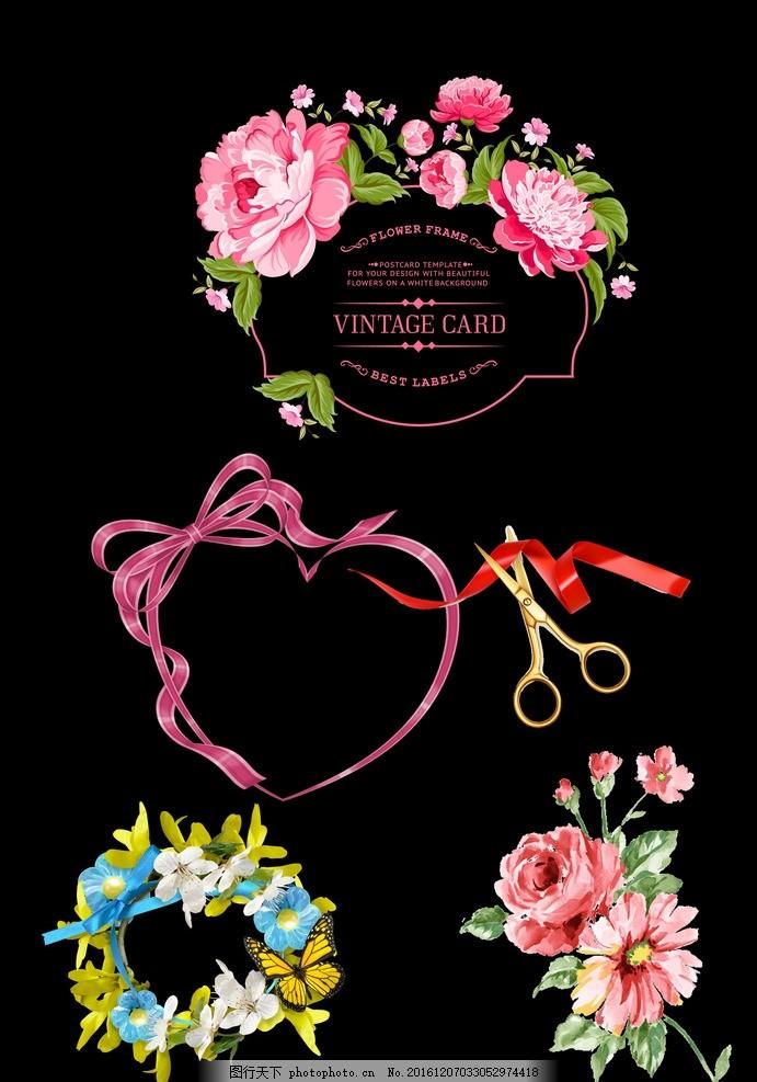 设计图库 psd分层 其他  手绘花卉 手绘花 彩色花卉 花卉 素描花卉