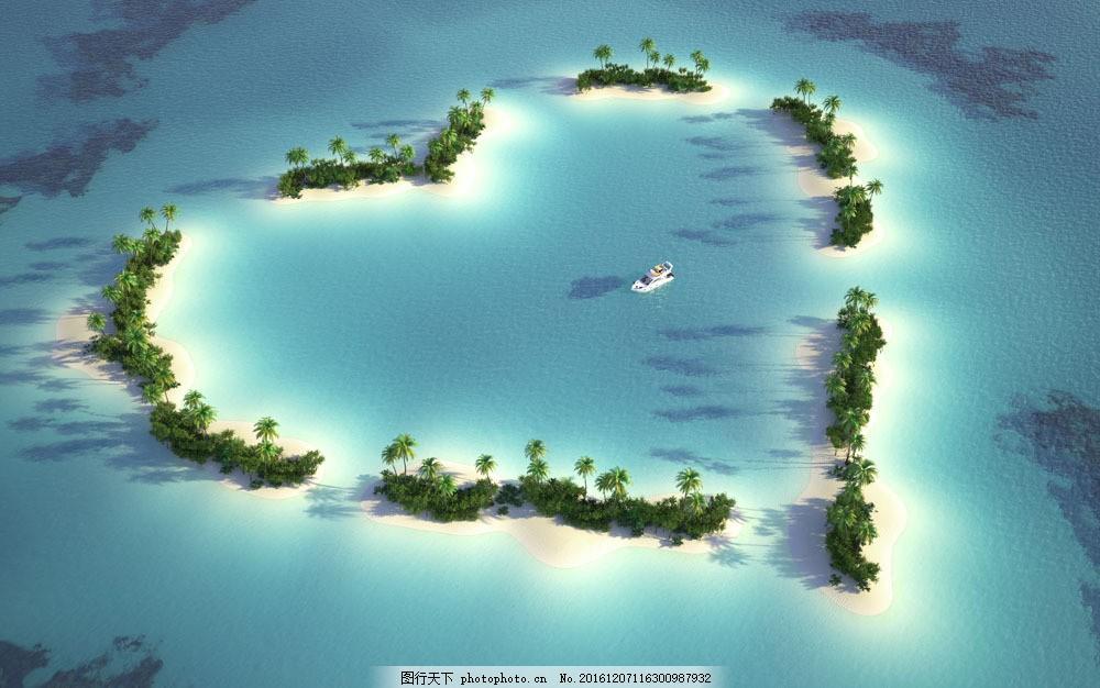 爱心小岛景色图片素材 爱心小岛景色 海岛风景 心形小岛 爱心 桃心