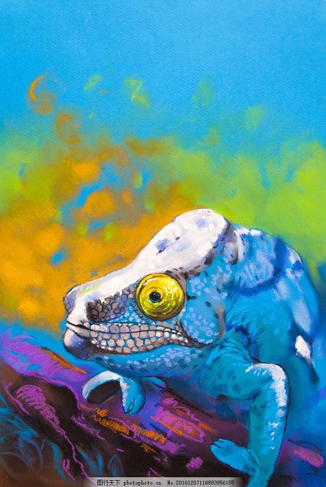 水彩变色龙 水彩变色龙图片素材 动物 野生动物 动物世界 动物摄影