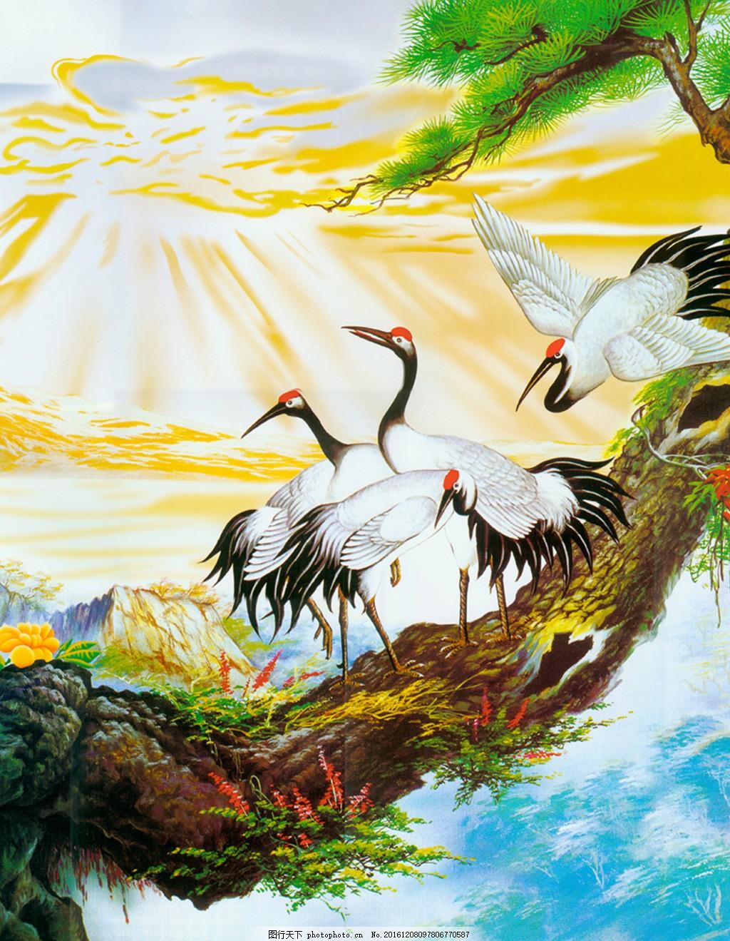 抽象背景图 室内背景图 玄关 装饰画 装饰 装饰设计 白鹤树木风景装饰