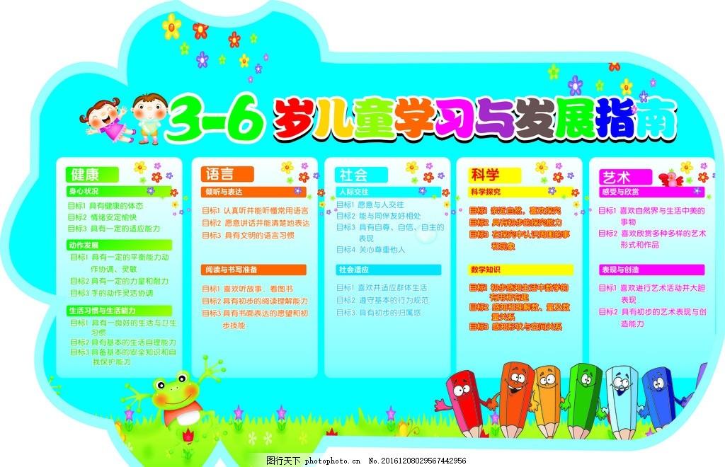 学校展板 异形展板 幼儿发展指南 蓝色背景 笔 卡通图形 宣传海报
