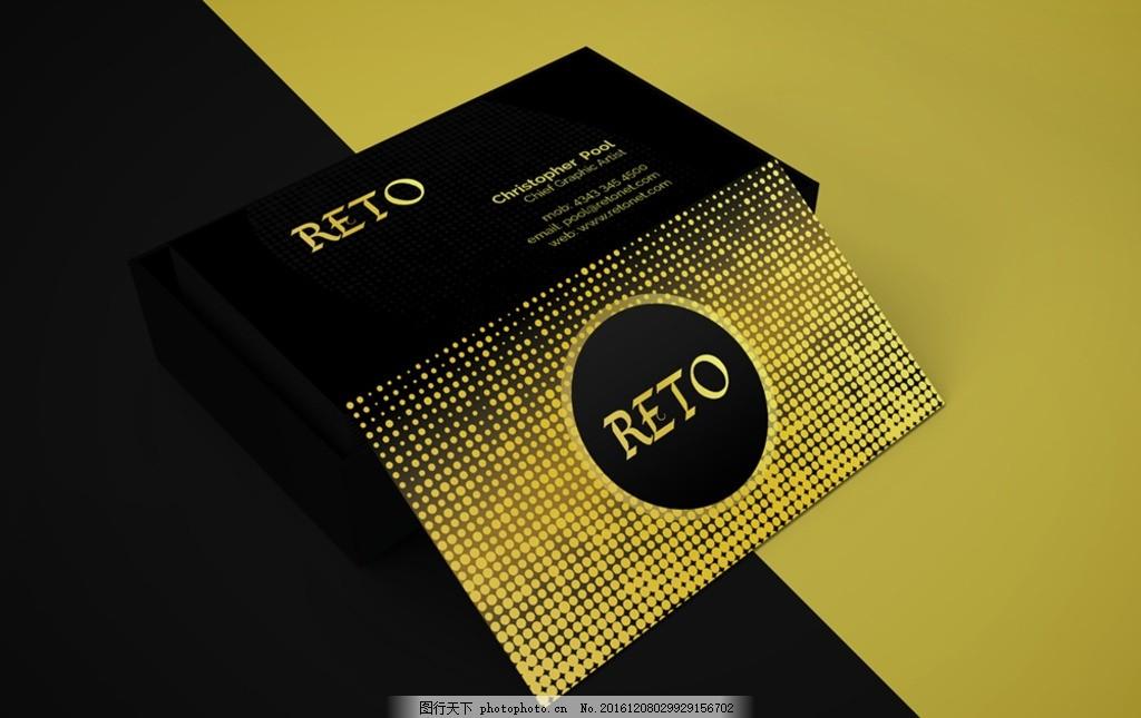 黑金字简约经典名片设计模板 时尚 简约 创意 经典 模板 竖版 排版