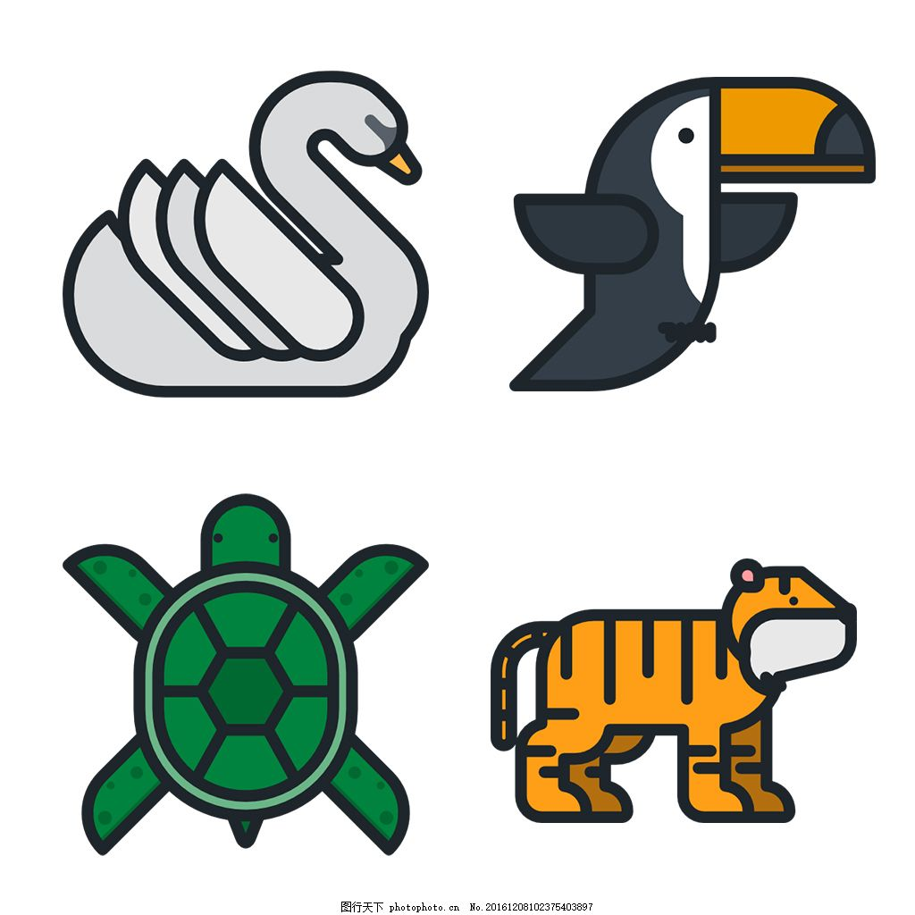 多色 简约 精美 可爱 商务 圆润 方正 立体 图标 icon 动物 龟 老虎