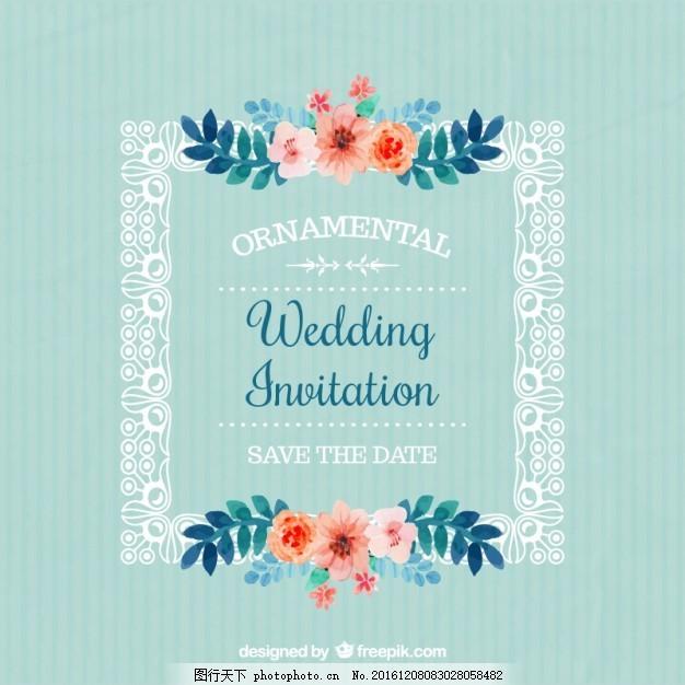 带鲜花的婚礼请柬 帧 水彩 旧货 婚礼邀请 党 爱 复古 水彩花