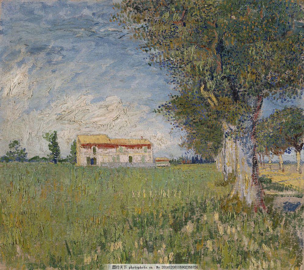 农家在麦田风景油画图片
