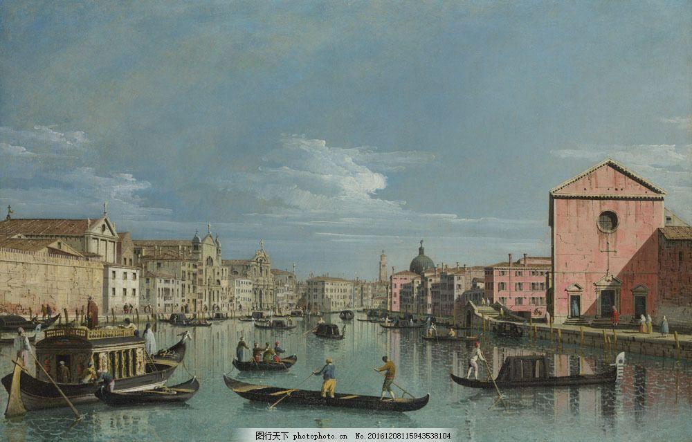 威尼斯水城油画风景图片