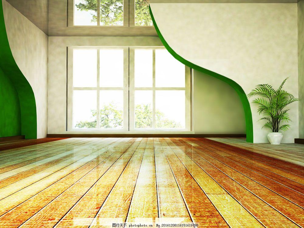 环保室内装修 环保室内装修图片素材 窗户 地板 绿色 绿色墙壁