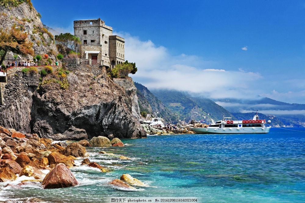 海边自然风景 海边自然风景图片素材 城市 楼房 大海 河流 船