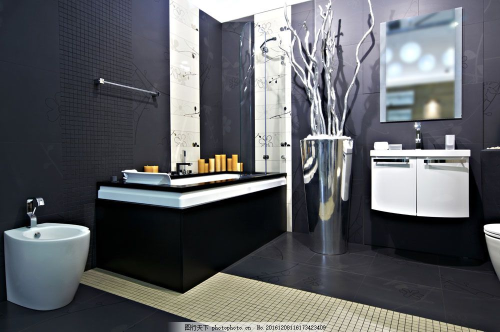 简约时尚的盥洗室 简约时尚的盥洗室图片素材 卫生间 洗手间 水池