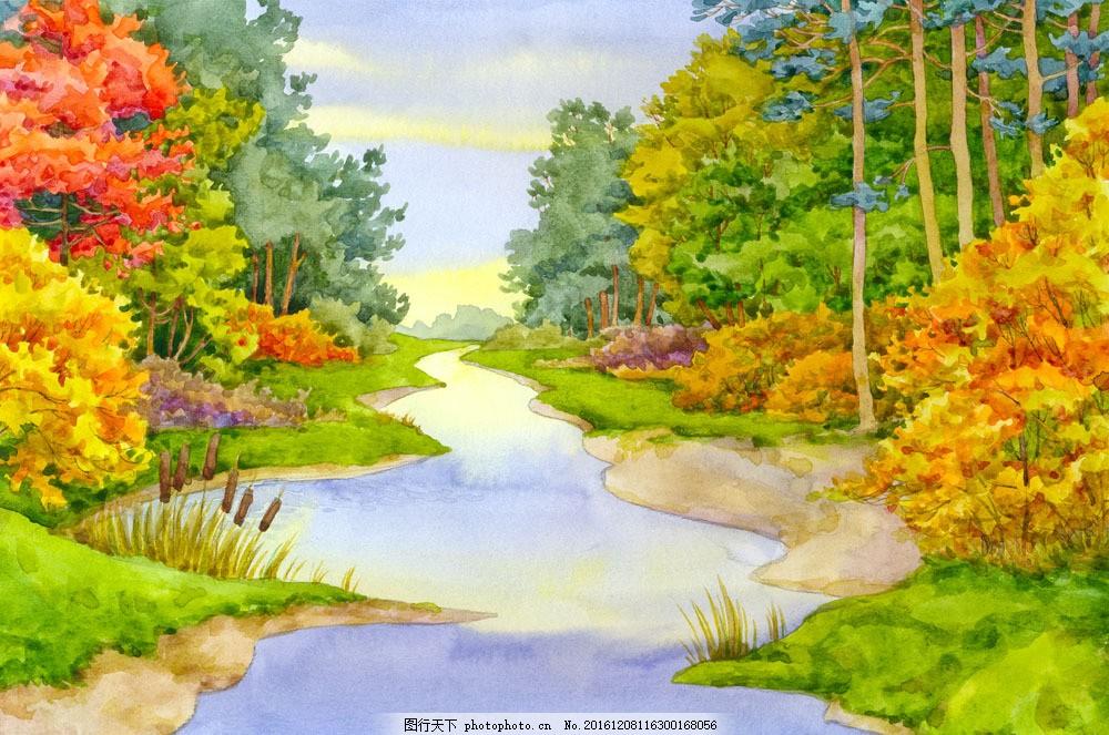 林间小溪水彩画 林间小溪水彩画图片素材 水彩颜料 水彩画艺术 森林图片