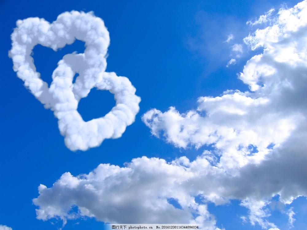 设计图库 高清素材 自然风景  两心型云图片素材 心型云朵 心型云