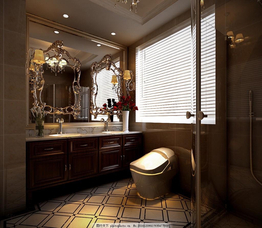 别墅卫生间效果图 装饰 装修 家装 欧式风格