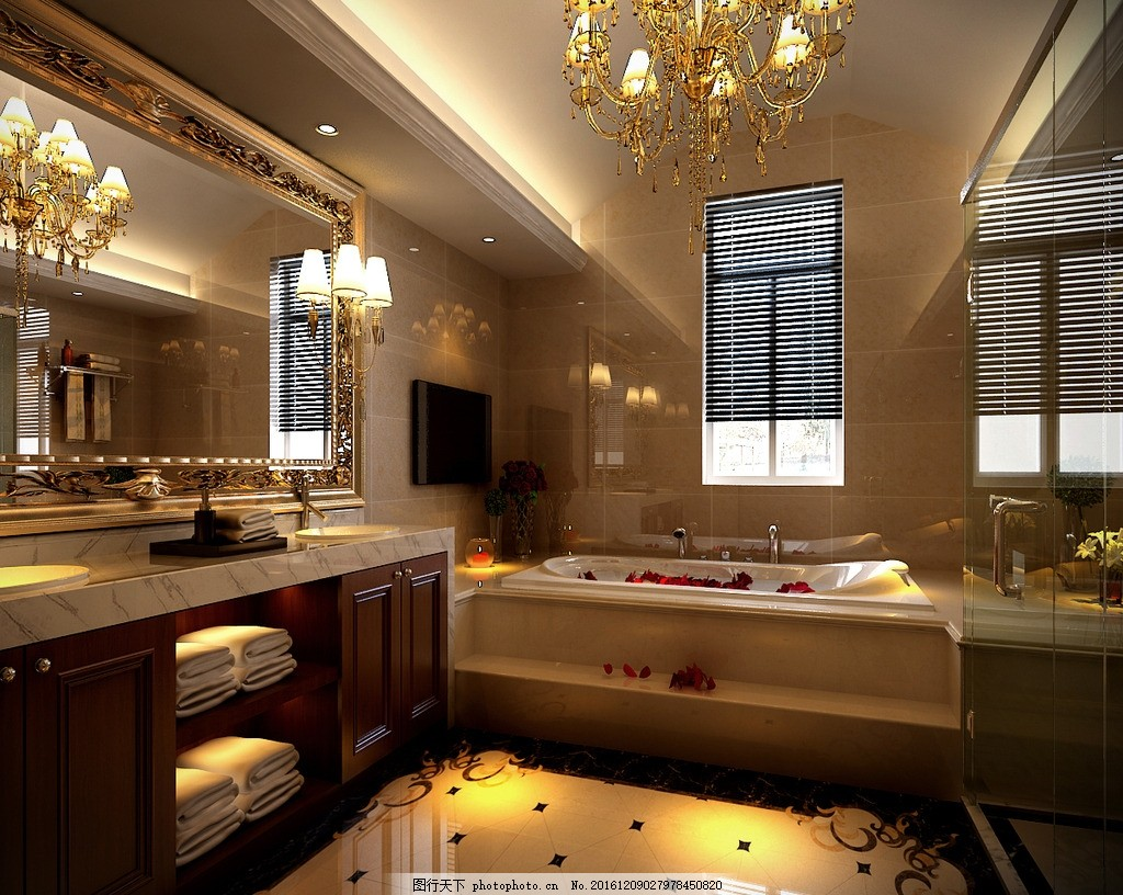 欧式别墅卫生间效果图,豪宅 盥洗室 洗手间 欧式风格
