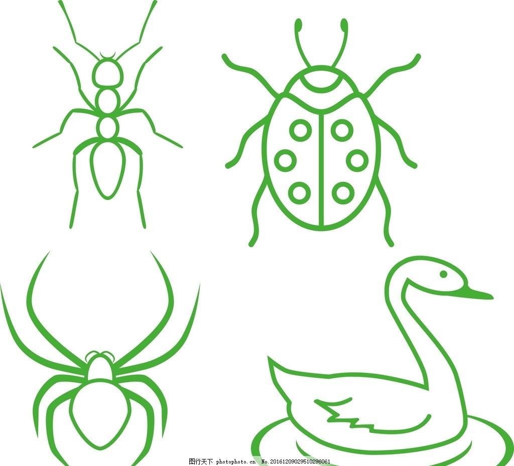 纹身 纹身贴 卡通素材 简笔画 线条 黑白 手绘 卡通 蚂蚁 矢量蚂蚁