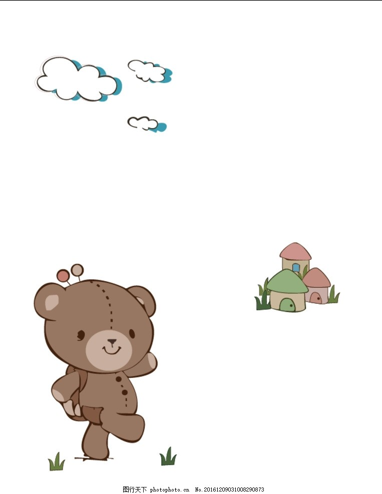 卡通 玩具熊 矢量图 移门图案 棕色熊