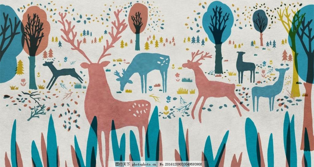 森林动物 可爱动物 小动物 简约森林 手绘森林 卡通树林 手绘动物