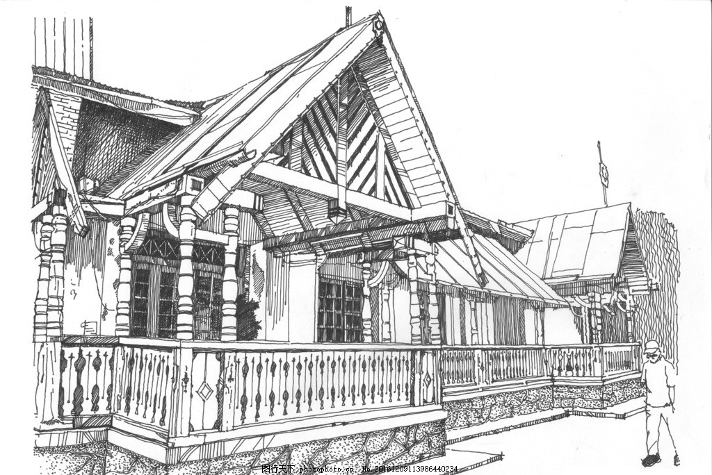 哈尔滨江畔餐厅 精细钢笔画 速写 黑白钢笔画 手绘 单色画 建筑风景画