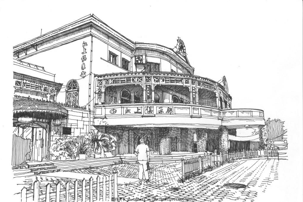 古鲁布水上餐厅 精细钢笔画 速写 黑白钢笔画 手绘 单色画 建筑风景画