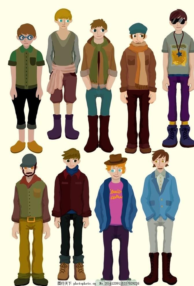卡通人物 梦幻风景 浪漫小清新 设计 动漫动画 eps 小学生 漫画人物