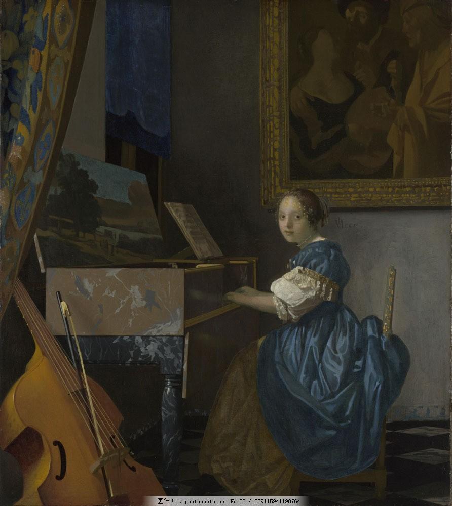 弹钢琴的人物油画图片