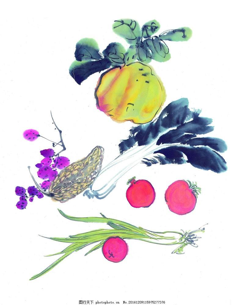 鲜蔬水果图片素材 国画 中国画 文化 艺术 水墨画 蔬菜 水果 洋葱
