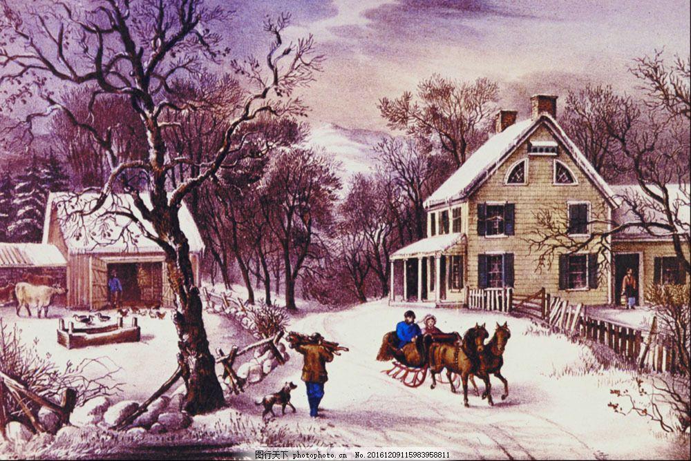 房屋 冬天风景 雪景 水彩画 无框画 装饰画 壁画 挂画 墙画 挂板 室内
