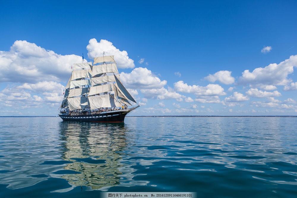 蓝天白云帆船 蓝天白云帆船图片素材 船舶 扬帆起航 船只 轮船