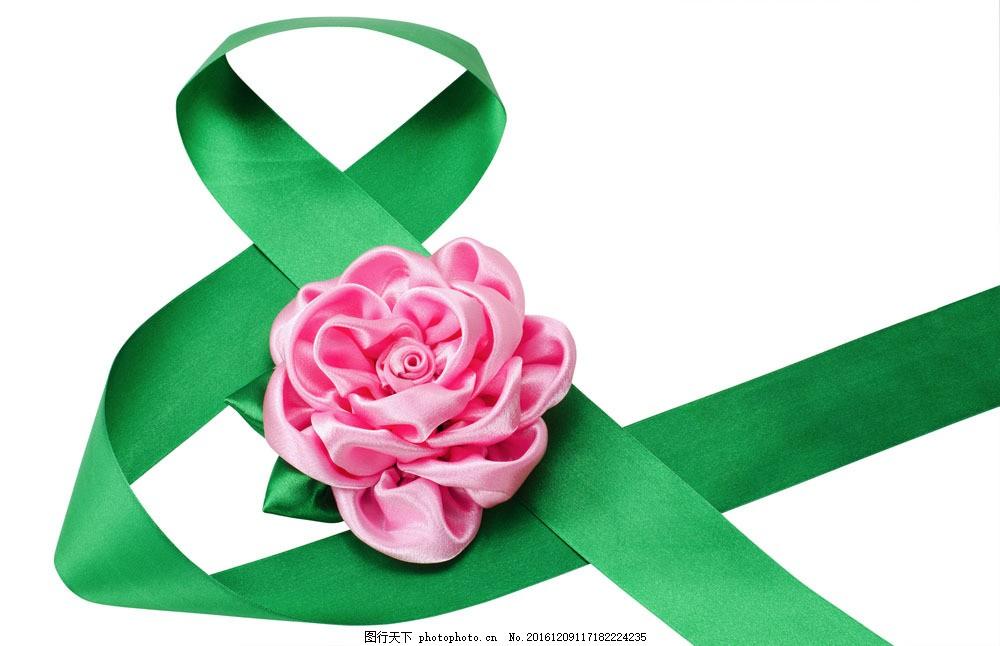 绿色丝带和粉色花朵 绿色丝带和粉色花朵图片素材 节日庆典