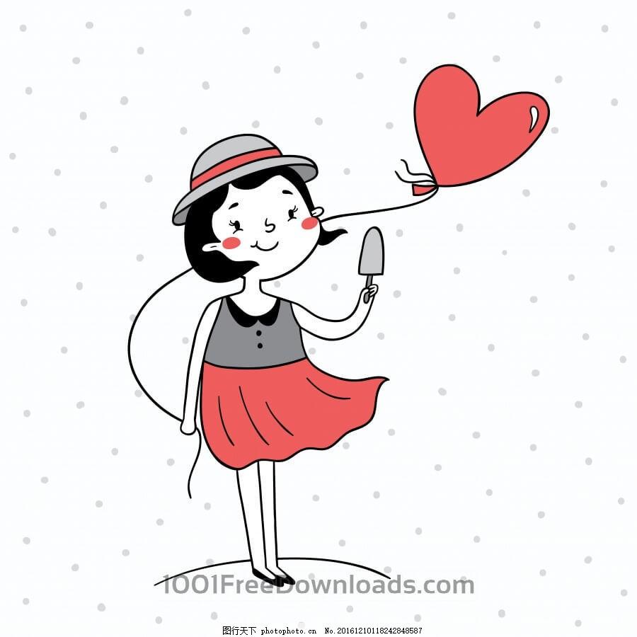 一个气球女孩的矢量图 抽象 背景 人物 卡通图片