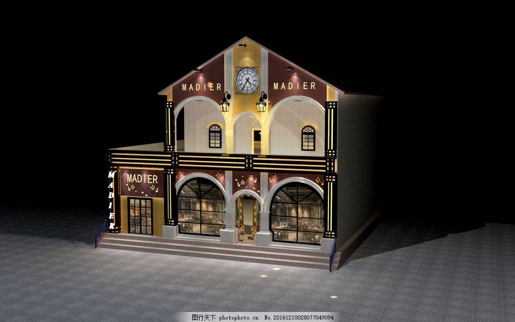 门头效果图 教堂式餐厅工装 欧式门头 欧式风格餐厅效果图 工装效果图