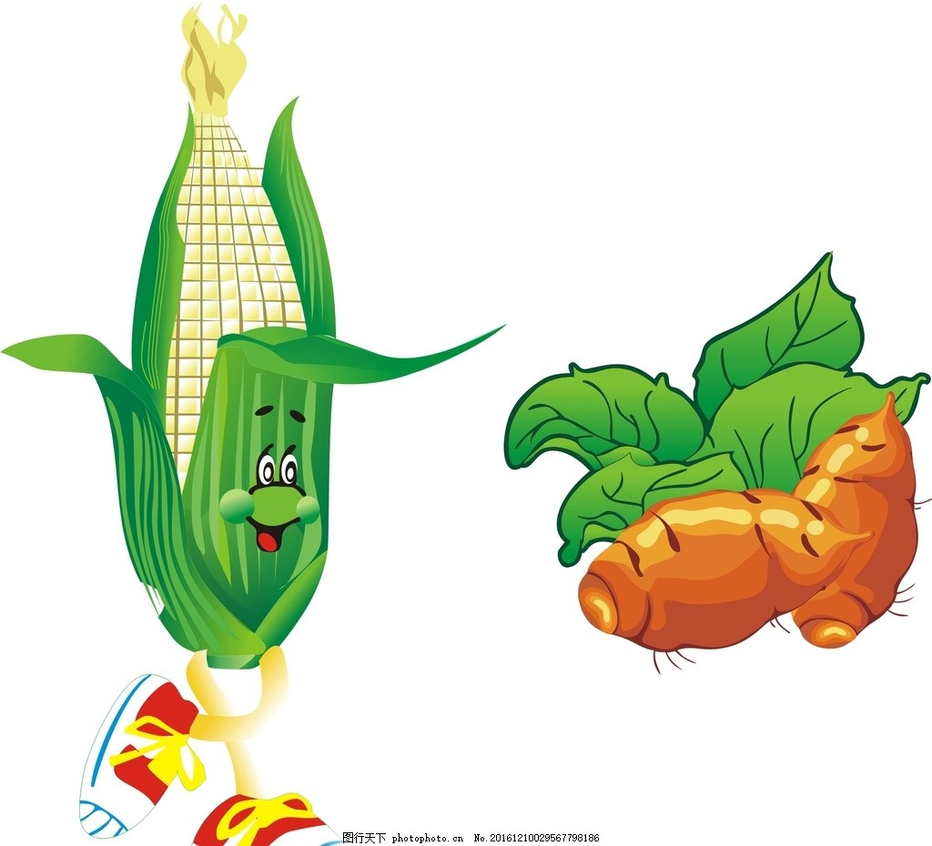 地瓜 玉米 卡通素材 可爱 手绘素材 儿童素材 卡通装饰素材 矢量