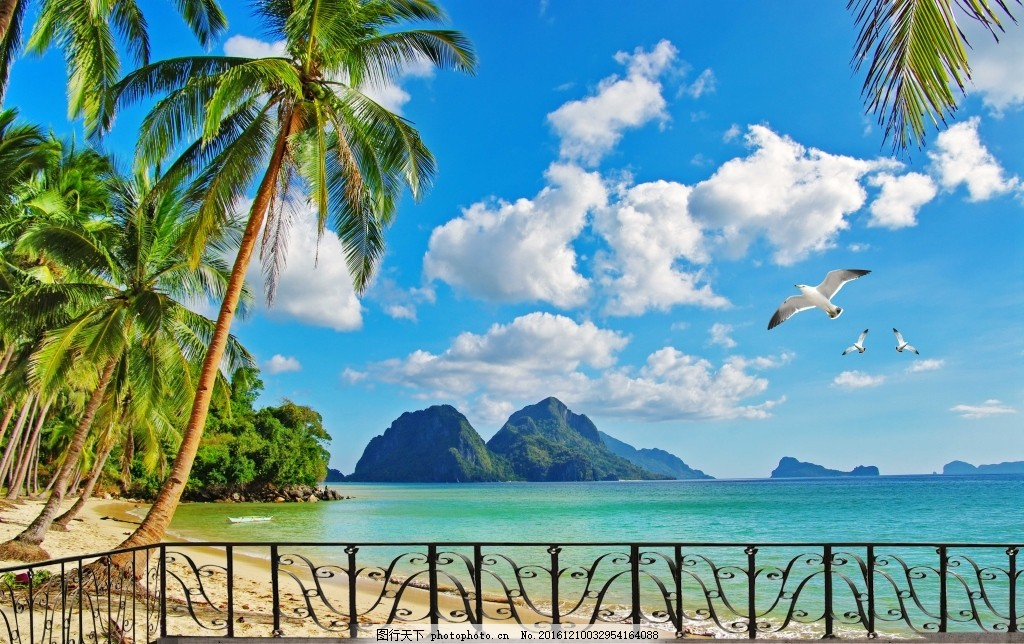 壁 画 纸 自然 蓝天 白云 壁画 壁纸 电视背景墙 阳光风景 海鸥 大海